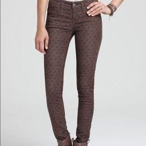 Free People brown floral corduroy skinny pants 28